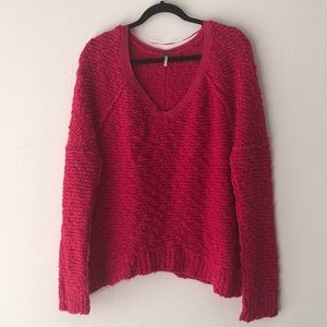 Free People Fuzzy V Neck Sweater Size Small